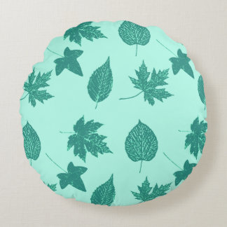 Autumn leaves - turquoise and aqua round pillow