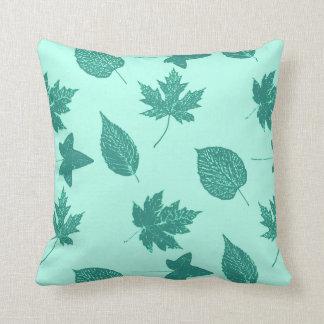 Autumn leaves - turquoise and aqua throw pillow