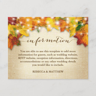 Autumn Leaves Twinkle Lights Burlap Wedding Info Enclosure Card