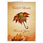 Autumn leaves umbrella Bridal shower Card