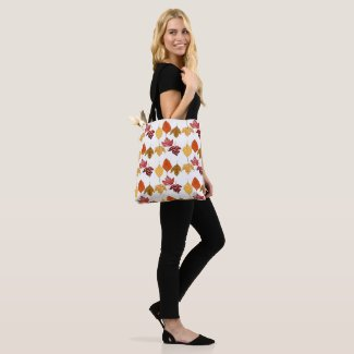 Autumn Leaves Watercolor All-Over Print Tote Bag