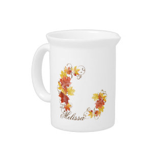 Autumn Leaves Watercolor ALWX Beverage Pitcher