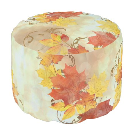 Autumn Leaves Watercolor ALWX Pouf
