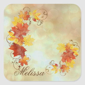 Autumn Leaves Watercolor ALWX Square Sticker