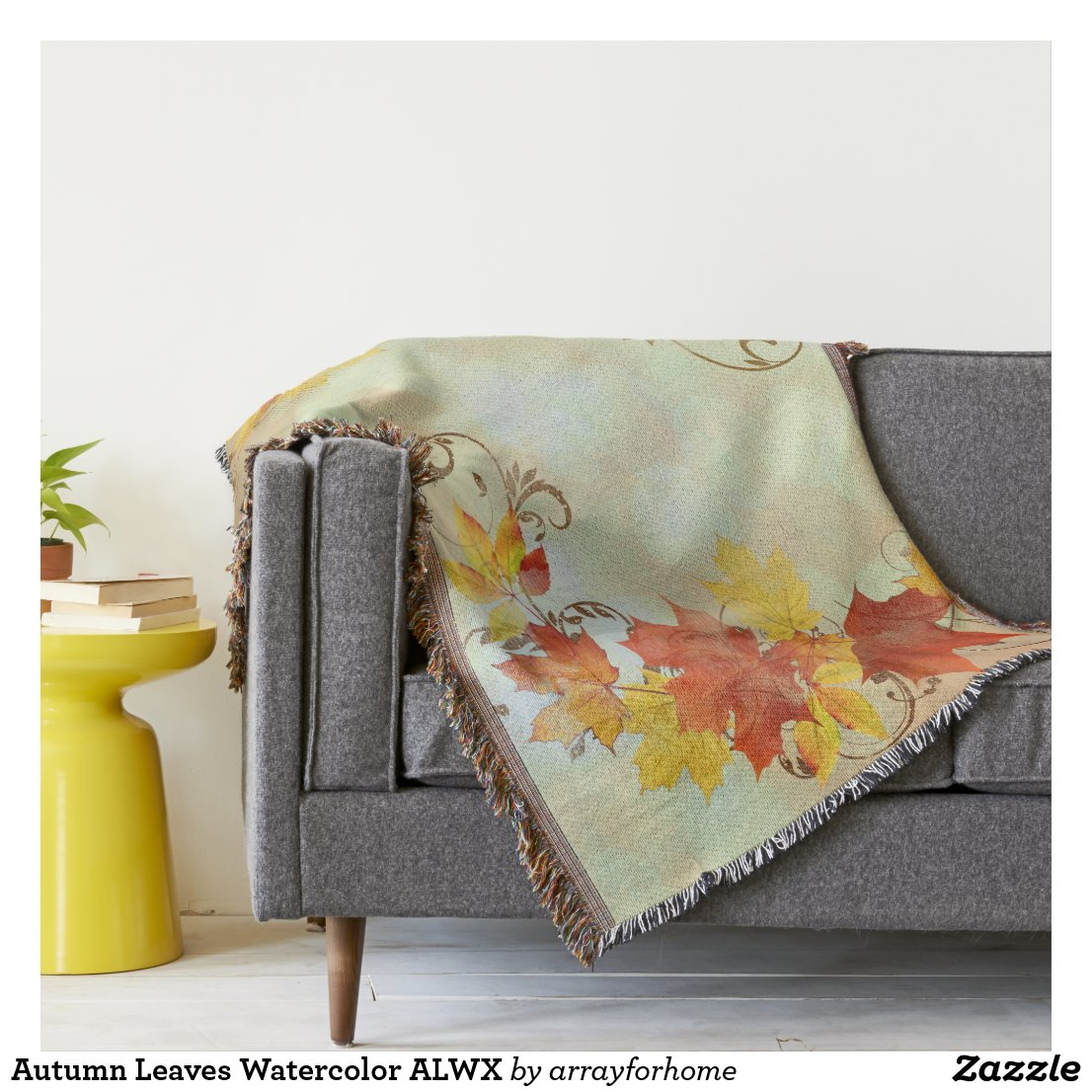 Autumn Leaves Watercolor ALWX Throw Blanket