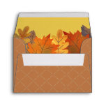 Autumn Leaves Watercolor Brown Yellow Envelope
