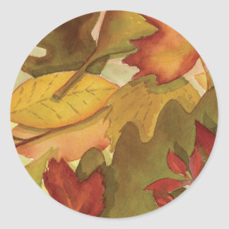 Autumn Leaves - Watercolor Classic Round Sticker