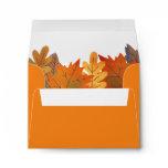 Autumn Leaves Watercolor Orange Envelope
