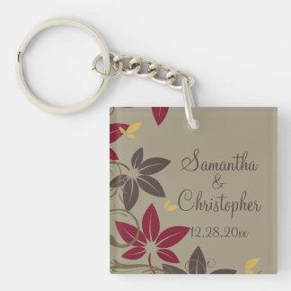 Autumn Leaves Wedding Double-Sided Square Acrylic Keychain