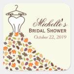 Autumn Leaves Wedding Dress Bridal Shower Favor Square Stickers