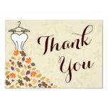 Autumn Leaves Wedding Dress Thank You Card
