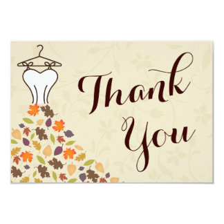 Autumn Leaves Wedding Dress Thank You Card