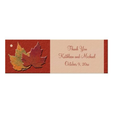 Autumn Leaves Wedding Favor Tags Mini Business Card