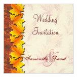 "Autumn Leaves Wedding Invitation Card 5.25"" Square Invitation Card"
