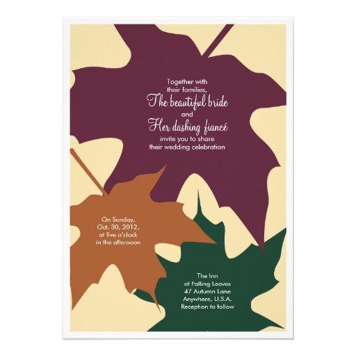 Autumn leaves wedding invitation - mixed