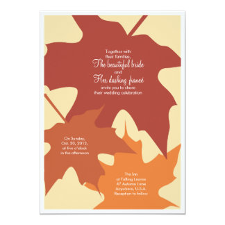 Autumn leaves wedding invitation - oranges