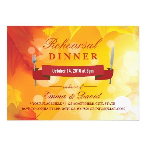 Autumn Leaves Wedding Rehearsal Dinner Invites
