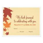 Autumn leaves wedding RSVP - oranges Invite