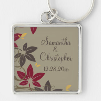Autumn Leaves Wedding Silver-Colored Square Keychain