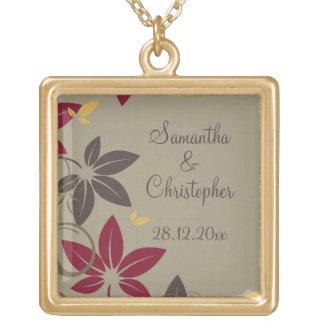 Autumn Leaves Wedding Square Pendant Necklace