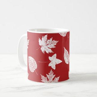 Autumn leaves - white and dark red coffee mug