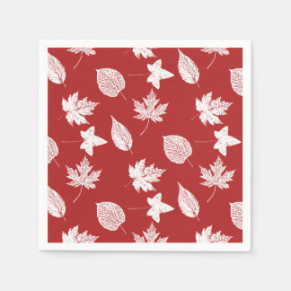 Autumn leaves - white and dark red napkin