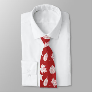 Autumn leaves - white and dark red neck tie