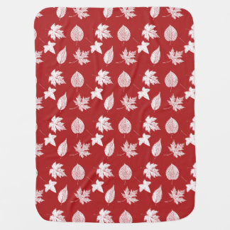 Autumn leaves - white and dark red swaddle blankets