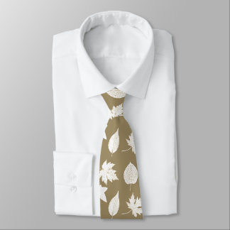 Autumn leaves - white and taupe tan tie