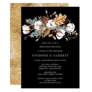 Autumn Leaves White Floral Post Wedding Brunch Invitation