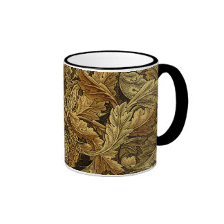 Autumn leaves William Morris pattern Ringer Mug