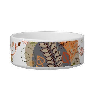 Autumn Leaves with Birds Cat Bowl