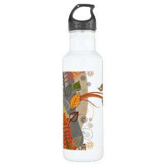 Autumn Leaves with Birds 24oz Water Bottle