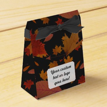 Professional Business Autumn Leaves with Custom Black Color and Text Favor Box