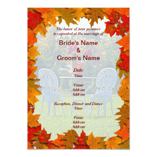 Autumn Leaves with Meadow of Love Wedding Invite