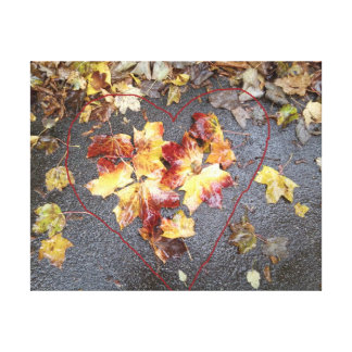 Autumn Leaves with Red Heart Shape Drawn In Canvas Print