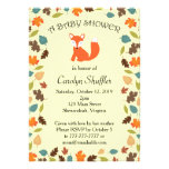 Autumn Leaves Woodland Fox Baby Shower Personalized Announcements