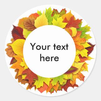 Autumn leaves wreath classic round sticker