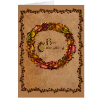 Autumn Leaves Wreath Greeting Cards