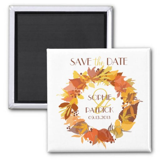 Autumn Leaves Wreath Save the Date Magnet