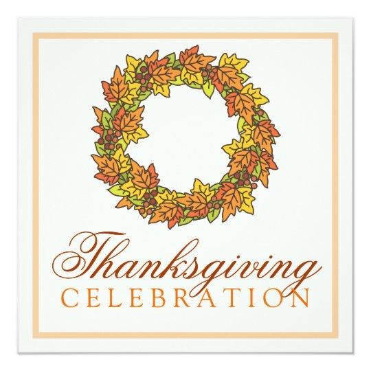 Autumn Leaves Wreath Thanksgiving Dinner Card