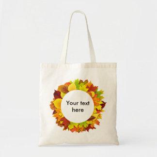 Autumn leaves wreath tote bag