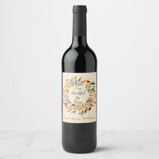 Autumn Leaves Wreath Wine Label