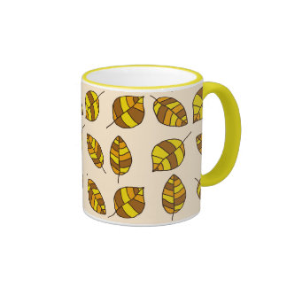 Autumn Leaves Yellow Leaf Pattern on any Color Ringer Mug