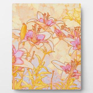 Autumn Lilies - Digital Watercolor - Photo Plaque