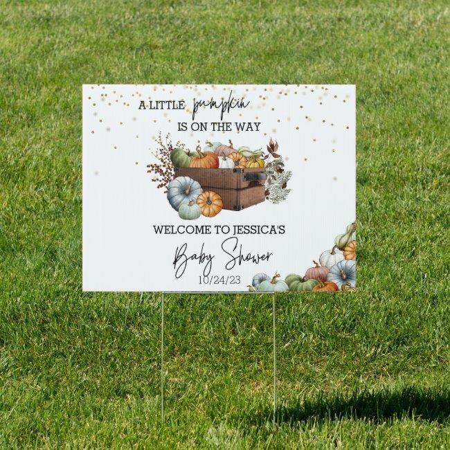 Autumn Little Pumpkin Watercolor Baby Shower   Sign