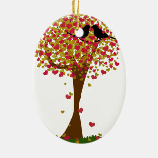 Autumn Love Birds in a Tree of Hearts Christmas Tree Ornament