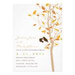 Autumn Love Birds in Tree with Fall Leaves Custom Invites