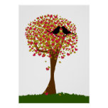 Autumn Love Birds Poster