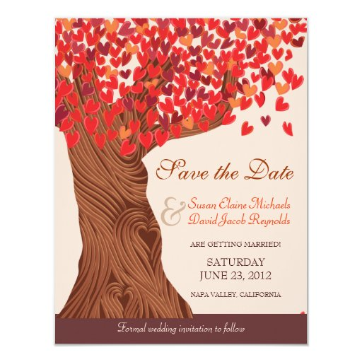 Autumn Love Romantic Oak Tree Save the Date Custom Announcements